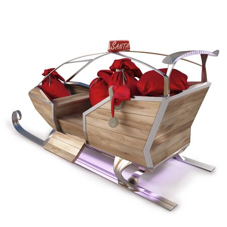 santas sleigh: sleigh of Santa Claus with a bag of gifts. isolated on white  Stock Photo