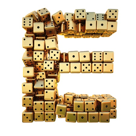 matted: letter from the golden dice. isolated on white. including clipping path.