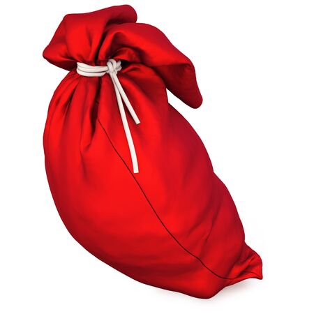 velvet ribbon: Santas red bag with gifts. ioslated on white with clipping path.