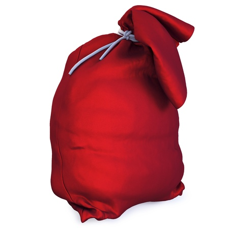 Santas red bag with gifts. ioslated on white with clipping path. photo