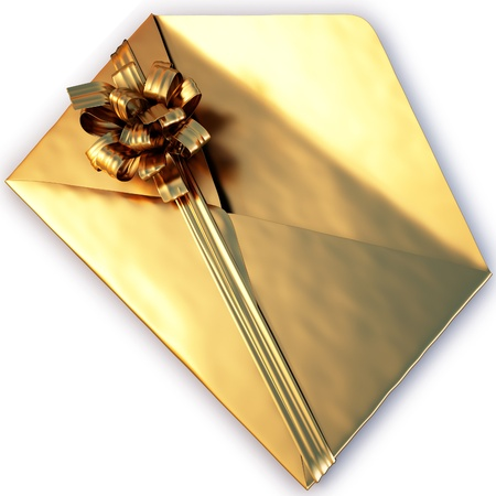open a golden envelope tied with ribbon and bow. isolated on white  photo