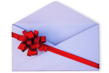 open a paper envelope tied with red ribbon and bow. isolated on white  photo
