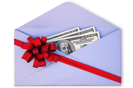 open a paper envelope with the dollars tied with red ribbon and bow. isolated on white Stock Photo - 8317188