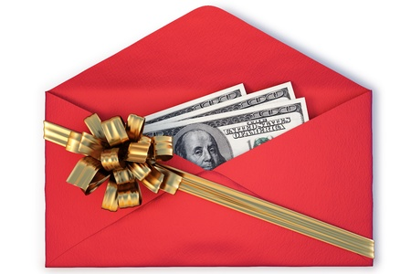open a paper envelope with the dollars tied with golden ribbon and bow. isolated on white photo