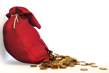 pile of gold coins spill out of the red bag with a patch.  photo