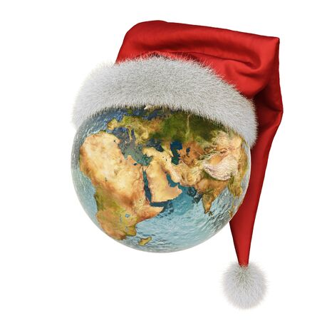 winter vacation: Hats Santa Claus dressed in earth. isolated on white.  Stock Photo