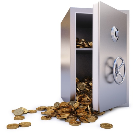open the safe with a bunch of gold coins fell out. Stock Photo - 8351490