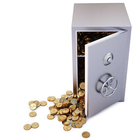 open the safe with a bunch of gold coins fell out. Stock Photo - 8351487
