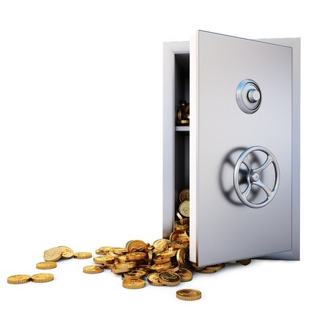 open the safe with a bunch of gold coins fell out. Stock Photo - 8351486