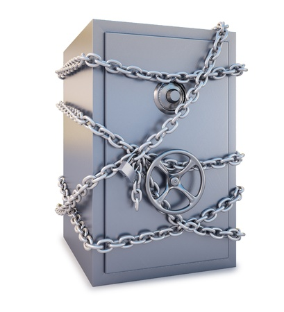 Safe clad in steel chain with a lock. isolated on white. Stock Photo - 8351494