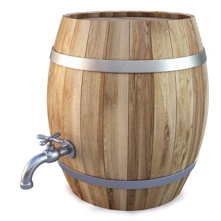 botella de whisky: Barril de madera con la llave de paso. aislados en blanco