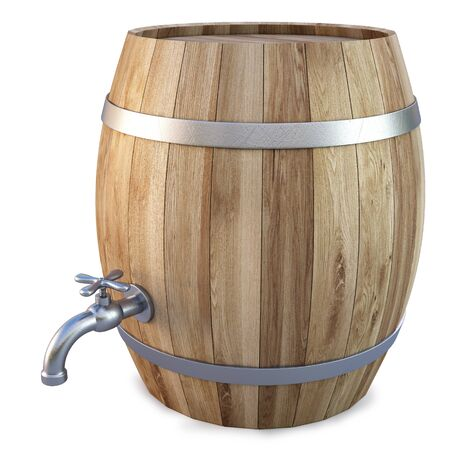 whiskey: Houten vat met de kraan. geïsoleerd op wit