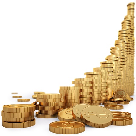 dinero: Diagrama de monedas de oro aislados en blanco.