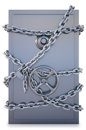vaulted door: Safe clad in steel chain with a lock. isolated on white.