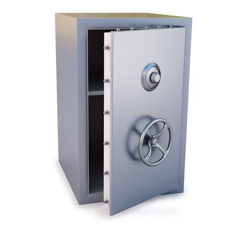 steel safe with the door open. isolated on white. photo