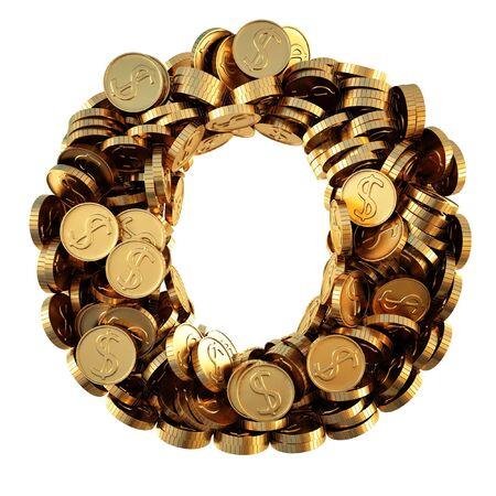 letras de oro: alfabeto de las monedas de oro. aislados en blanco. Foto de archivo