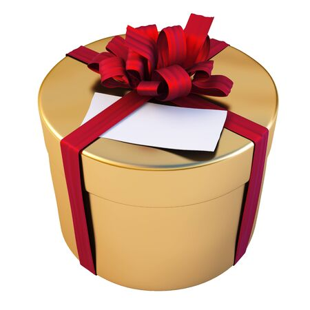 Golden gift  with  red bow and blank paper tag. isolated on white. photo
