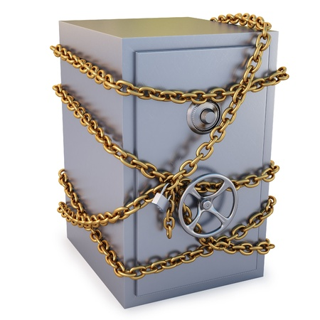 safe lock: Safe clad in gold chain with a lock. isolated on white.