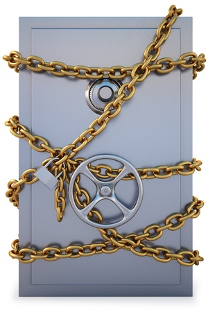armored safes: Safe clad in gold chain with a lock. isolated on white.