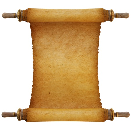 Ancient antique scroll on white background photo