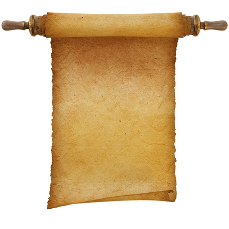 rolled paper: Ancient antique scroll on white background