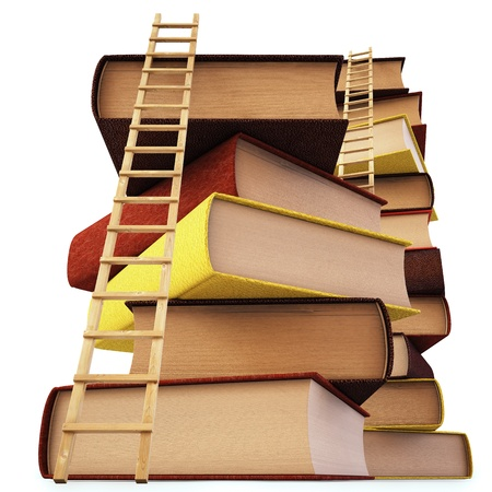 picture book: Wooden ladder standing near books pile.