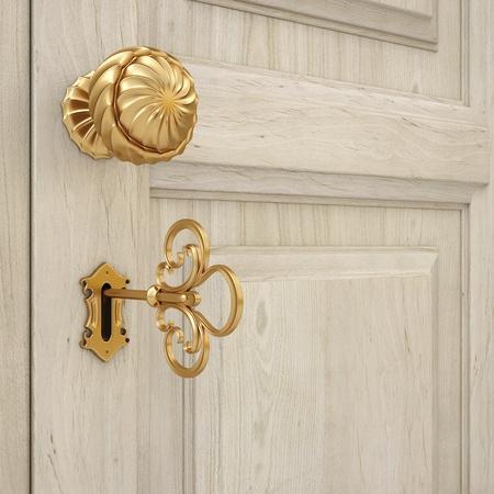 golden door handle and a golden key. 3d image.