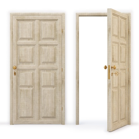 close to: open and closed wooden doors.