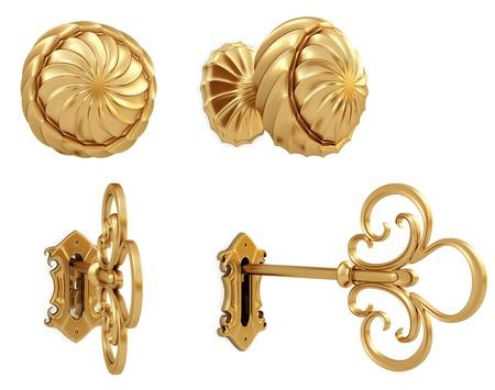 golden door handle and the golden key.  Stock Photo - 8657081
