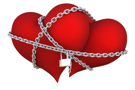 tied up: two velvet hearts linked together with silver chain.