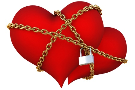 two velvet hearts linked together with golden chain. photo