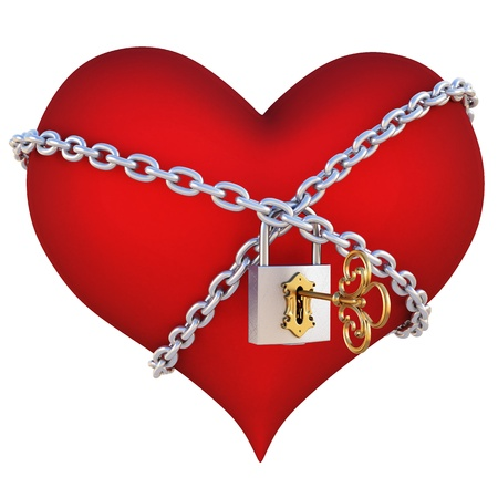 unlocking: red heart, wrapped a chain padlocked. isolated on white Stock Photo