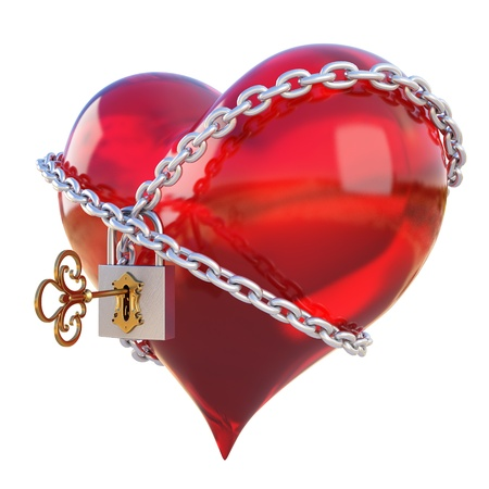 forbidden love: red heart, wrapped a chain padlocked. isolated on white Stock Photo