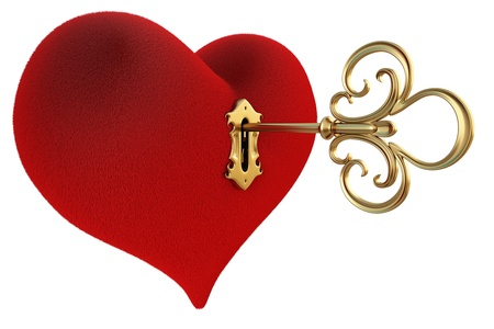 red heart with a keyhole and key.  Stock Photo - 8657078