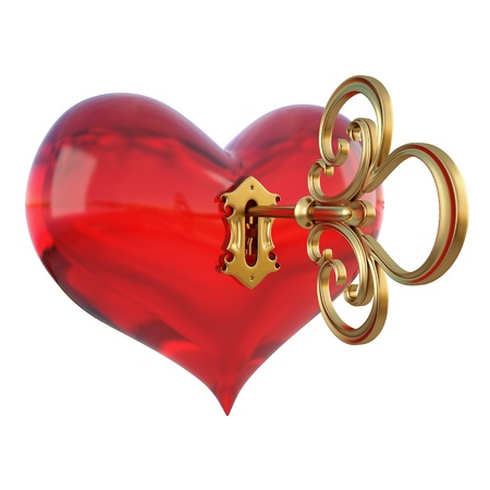 keyhole: red heart with a keyhole and key. Stock Photo