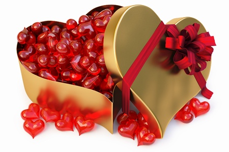 a lot of glass hearts in a large gold heart-shaped gift.