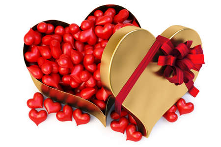 a lot of red hearts in a large gold heart-shaped gift.  Stock Photo - 8657041
