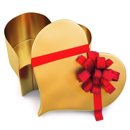 Open gold gift in the form of heart. photo