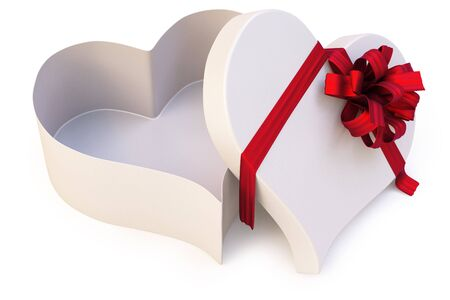 Open gift in the form of heart.  photo