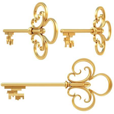 golden key set of views. Stock Photo - 8657052