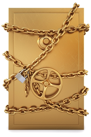 combination safe: golden Safe clad in gold chain with a lock.