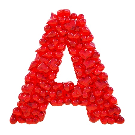 pile of candy hearts in the form of letters. isolated on white.  Stock Photo - 8708693