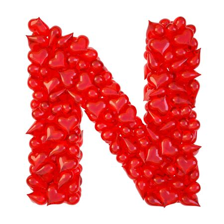 pile of candy hearts in the form of letters. isolated on white. photo