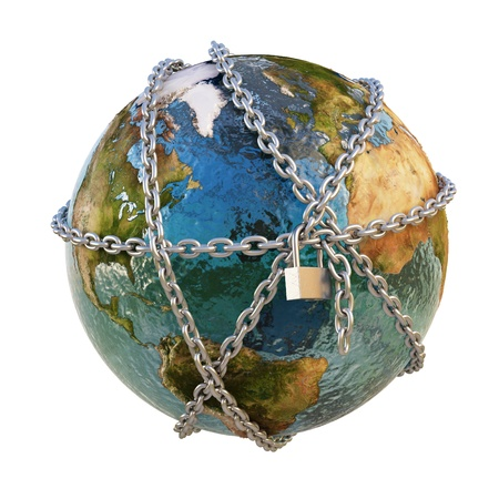 domination: earth clad in steel chains under the padlock. isolated on white.