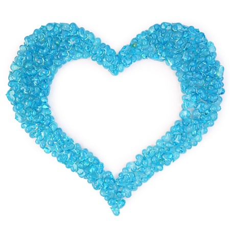 shape heart: bunch of blue candy hearts in the form of a large heart. isolated on white.  Stock Photo