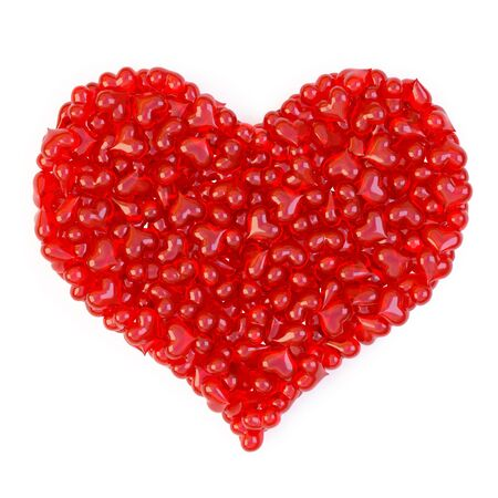 bunch of red candy hearts in the form of a large heart. isolated on white. photo
