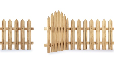 picket fence: wooden fence with a gate isolated on white Stock Photo