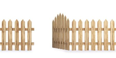 verjas: valla de madera con una puerta aislada sobre blanco Foto de archivo