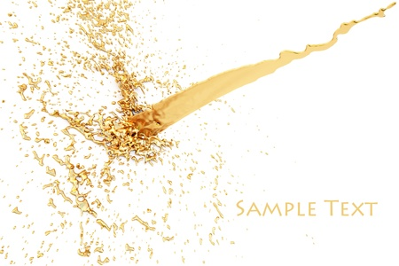 water spray: splash of golden fluid on the wall. isolated on white.