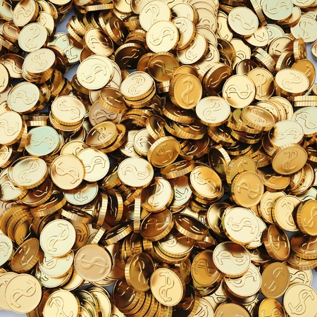 coin stack: pile of gold coins. 3d image.